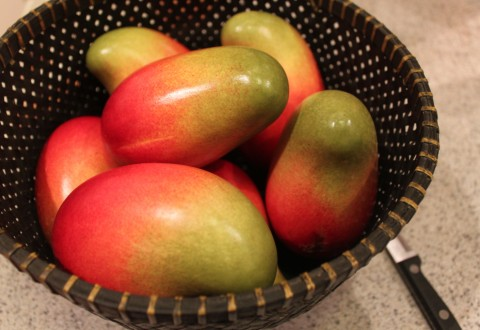 mangos in basket