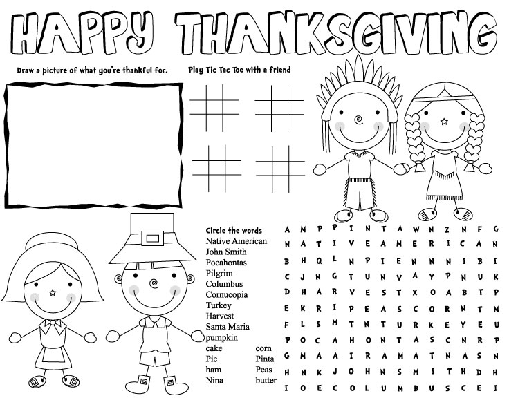 Click Here To Print THANKSGIVING PLACEMAT