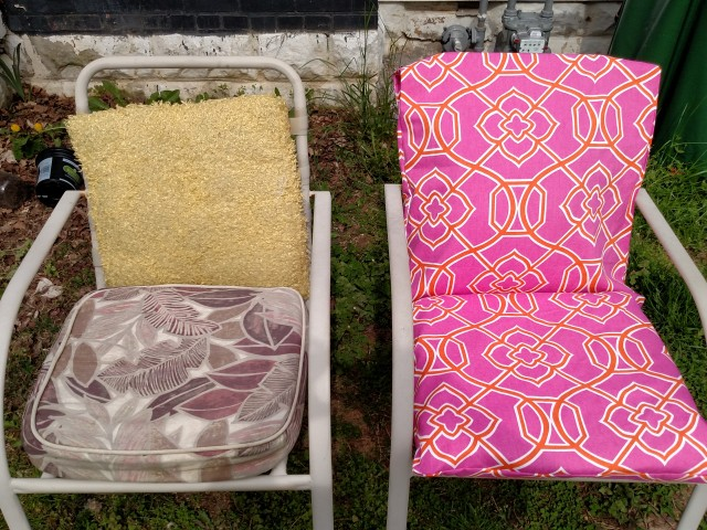 how to reupholster outdoor cushions, modern homemakers, mom blog, upcycled cushions