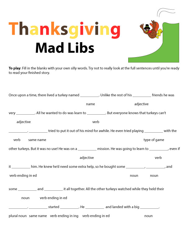 picture about Mad Libs Printable Pdf called Thanksgiving Crazy Libs - Revolutionary Homemakers