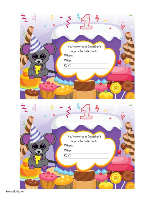 Beanie Boo Party Invitations Birthday Cards